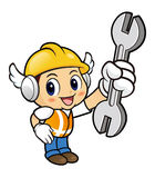 Construction worker Character is holding a spanner. Stock Images