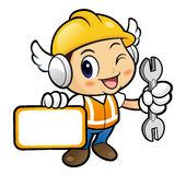 Construction worker Character is holding a spanner and board. Royalty Free Stock Photo