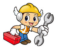 Construction worker Character is holding a spanner and Toolbox. Royalty Free Stock Photos