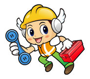 Construction worker Character is holding a toolbox and telephone Royalty Free Stock Photos