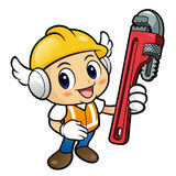 Construction worker Character is holding a wrench. Royalty Free Stock Photos