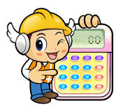 Construction worker Character is instructing holding a calculato Stock Images