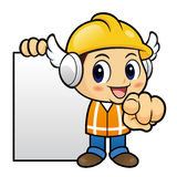 Construction worker Character it instructs holding order page. Stock Images