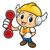 Construction worker Character just calls me back when you have m Stock Photo