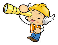 Construction worker Character is look through a telescope. Royalty Free Stock Photos