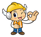 Construction worker Character is OK a gesture playing. Stock Photos