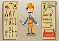 Construction worker character pack Royalty Free Stock Image