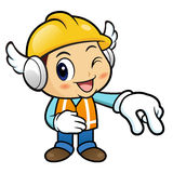 Construction worker Character is picking up finger gestures. Royalty Free Stock Images
