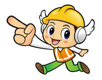 Construction worker Character is points a finger one direction. Royalty Free Stock Photos