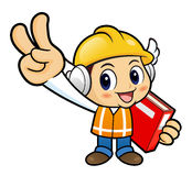 Construction worker Character is taking a gesture of victor Stock Image