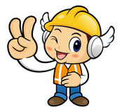 Construction worker Character is V gesture of victory takes. Royalty Free Stock Images