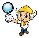 Construction worker Character is view through a magnifying glass Royalty Free Stock Photo