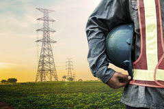 Construction worker checking location site Royalty Free Stock Images