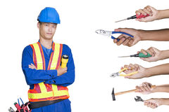 Construction worker checking location site Royalty Free Stock Photo