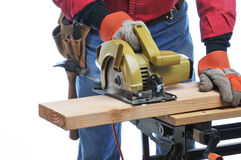 Construction Worker With Circular Saw Royalty Free Stock Photography