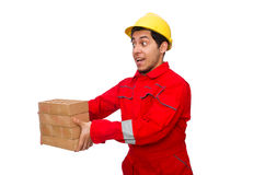 The construction worker with clay bricks on white Royalty Free Stock Images