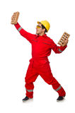The construction worker with clay bricks on white Stock Image