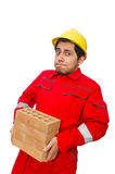 The construction worker with clay bricks on white Stock Photos