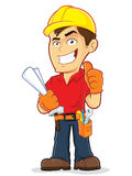 Construction Worker. Clipart picture of a construction worker cartoon character Royalty Free Stock Photo