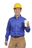 Construction worker with coffee Royalty Free Stock Image