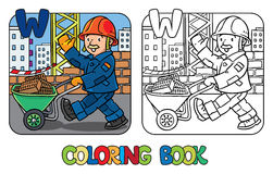 Construction worker coloring book. Alphabet W Stock Photography