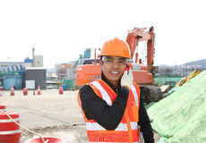Construction worker communication with mobile phone Stock Photography