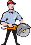 Construction Worker Concrete Saw Consaw Cartoon. Illustration of a construction worker with concrete saw consaw done in cartoon style Stock Image