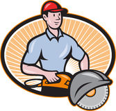 Construction Worker Concrete Saw Consaw Cartoon Royalty Free Stock Photography