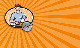 Construction Worker Concrete Saw Consaw Cartoon Royalty Free Stock Images