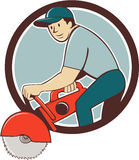 Construction Worker Concrete Saw Cutter Cartoon Stock Images