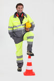 Construction worker with cone Stock Photography