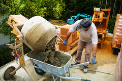 Construction worker on a construction site Stock Photo