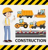 Construction worker and construction trucks. Illustration royalty free illustration