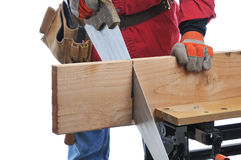 Construction Worker Cutting Beam Royalty Free Stock Images