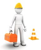 Construction worker. 3D character. isolated on a white background Stock Photography