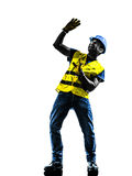 Construction worker danger risk safety vest silhouette. One construction worker danger risk with safety vest silhouette isolated in white background Stock Photo