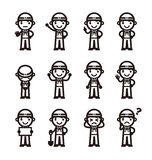 Construction worker in different poses Royalty Free Stock Photos