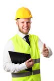 Construction worker with document Stock Photos