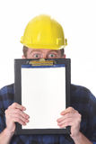 Construction worker with documents Royalty Free Stock Photo