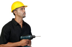Construction Worker with Drill Royalty Free Stock Photo