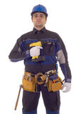 Construction worker with drill Royalty Free Stock Image
