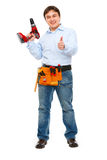 Construction worker with drill showing thumbs up Stock Images