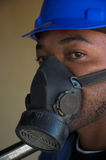 Construction worker and dust mask royalty free stock photos