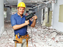 Construction worker on duty Stock Images