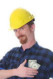 Construction worker with earnings Royalty Free Stock Photos