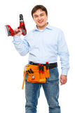 Construction worker with electric screwdriver Stock Photos