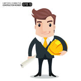 Construction worker. Engineer or architect holding projects blueprints cartoon character.- vector illustration Stock Image