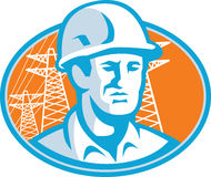 Construction Worker Engineer Pylons Retro. Illustration of a construction engineer supervisor worker with hardhat set inside oval with pylons in background Royalty Free Stock Photos