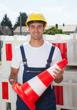 Construction worker ensures safety Stock Image