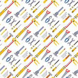 Construction worker equipment house renovation handyman tools carpentry industry seamless pattern background vector Royalty Free Stock Photos